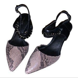 Coach shake print heels 7 point toe kitten
